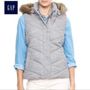 GAP warmest fur trimmed puffer vest